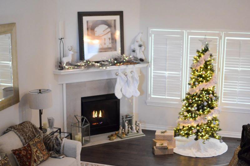 tree near fireplace